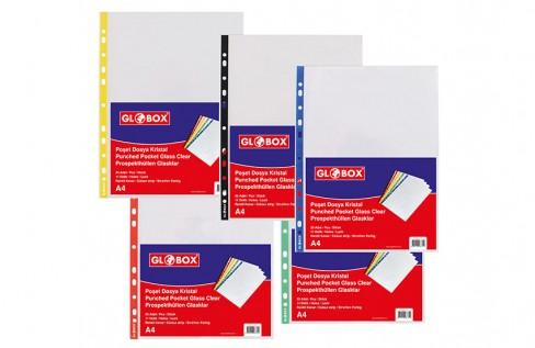 Kristal Poşet Dosya Renkli Şeritli 25 Adet/Paket