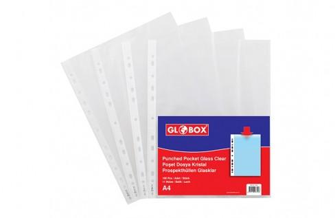 Kristal Poşet Dosya Beyaz Şeritli 100 Adet/Paket